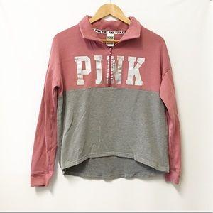 PINK VS 1/4 zip pullover sweatshirt hologram S